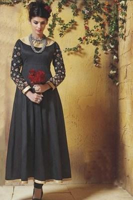 Latest Black Cotton Flared Anarkali with Kundan & Zari worked Sleeves
