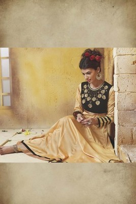 Golden Pure New Stylish Anarkali Dress with Heavy Neck gold