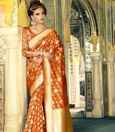 Buy Orange woven banarasi silk saree with blouse kanchipuram-silk-saree online