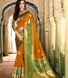 Buy Mustard woven banarasi silk saree with blouse banarasi-silk-saree online