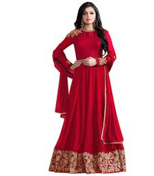 Buy Red embroidered georgette salwar ethnic-suit online