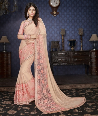 Peach Embellished Lycra saree with blouse