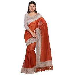 Buy Rust plain tussar silk saree with blouse tussar-silk-saree online