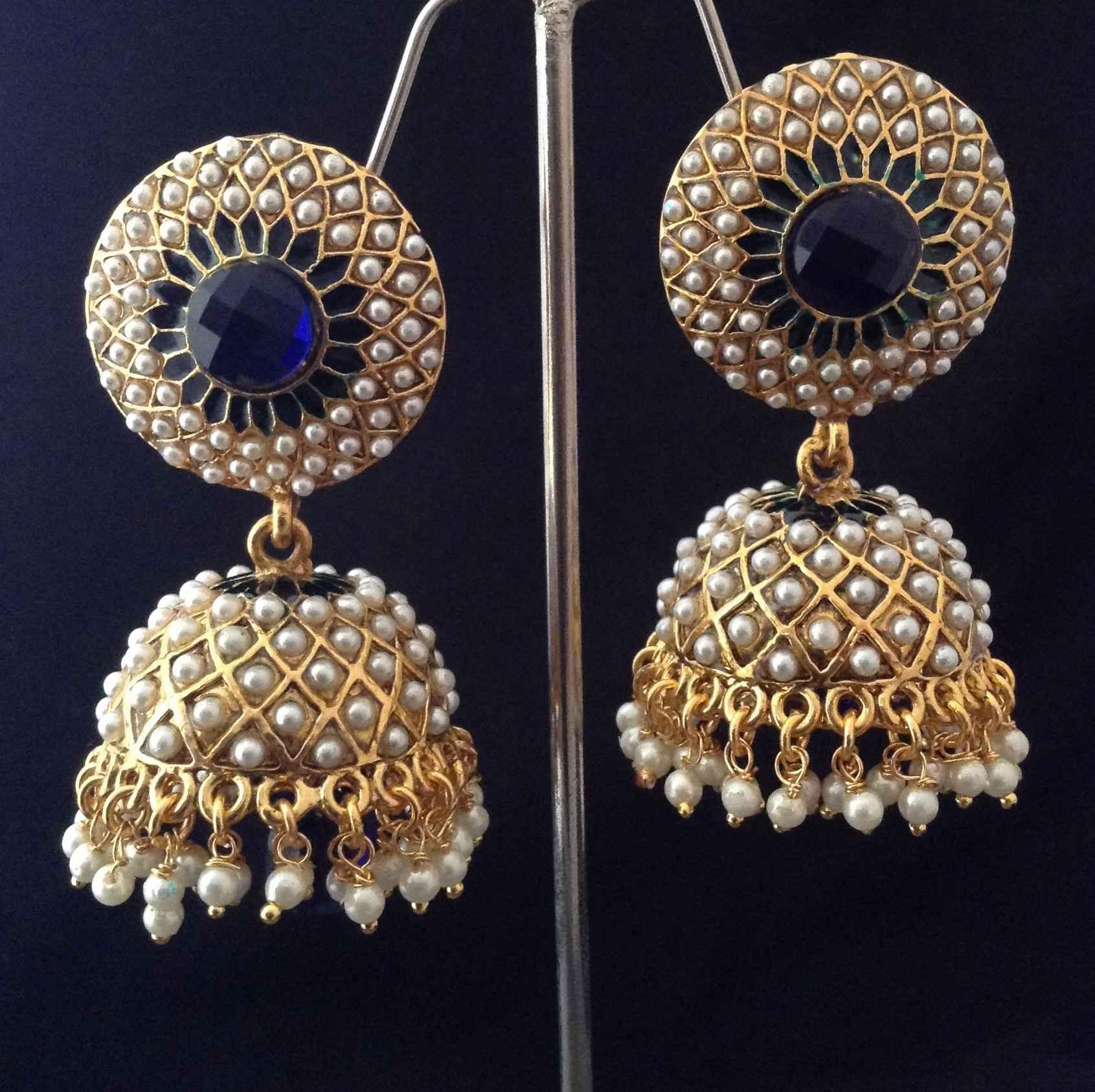 buy indian vintage jewellery blue golden pearl brass jhumka