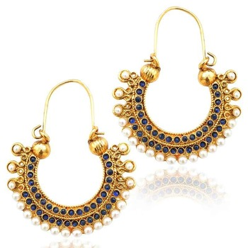Pearl golden finish ethnic blue bali hoop indian vintage ethnic jewelry earrings mz1b