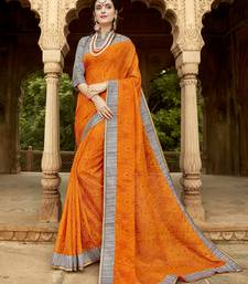 Buy Orange printed silk saree with blouse kota-silk-saree online