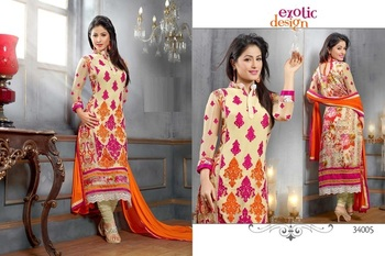 Offwhite Beige Colour Embroidered Georgette  Semi Stitched Straight Cut suit