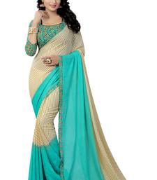 Buy Sky blue printed georgette saree with blouse georgette-saree online