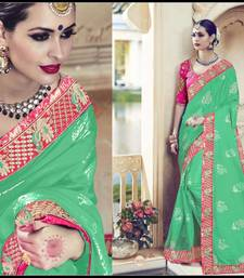 Buy Sea green embroidered chiffon saree with blouse wedding-saree online