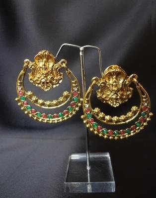 Ramleela Style Earrings - Ruby & Emerald - Big