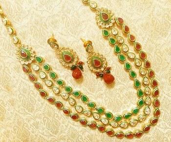 Royal Designer Multicolor AD Zircon 3 Liner Necklace Link Set