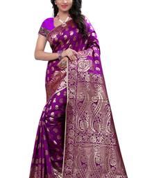 Buy Purple printed banarasi cotton saree with blouse banarasi-saree online