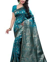 Buy Green printed banarasi cotton saree with blouse banarasi-saree online