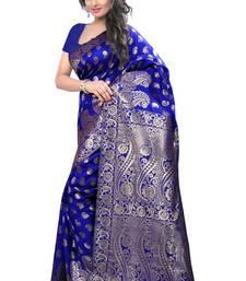 Buy Blue printed banarasi cotton saree with blouse banarasi-saree online