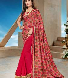 Buy Dark pink printed georgette saree with blouse diwali-sarees-collection online