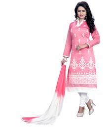 Buy Pink embroidered chanderi salwar chanderi-salwar-kameez online