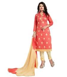 Buy Peach embroidered chanderi salwar chanderi-salwar-kameez online