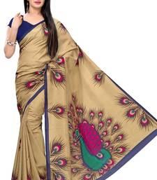 Buy Beige printed art silk saree with blouse silk-saree online