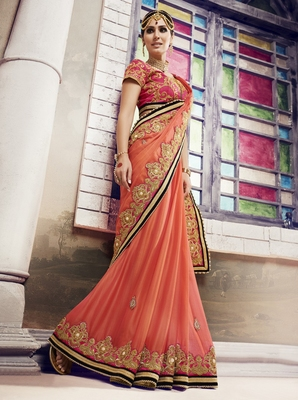 Coral embroidered chiffon saree with blouse