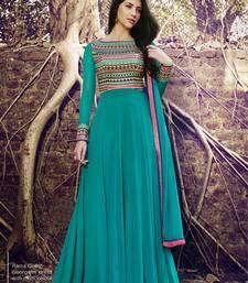 Buy Turquoise embroidered georgette salwar with dupatta multicolor-salwar-kameez online