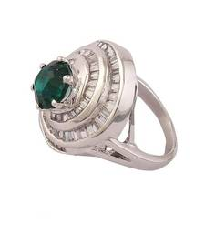 Buy Heena Trendy bugguet collection green Colour stone Ring >> HJRN23G << Ring online