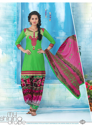 New Parrot Green Printed patiala Style Dress