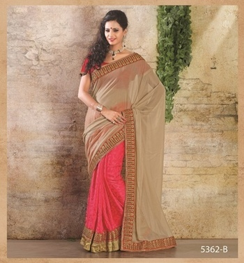 PINK & BEIGE COATED SAREE WITH EMBROIDERY