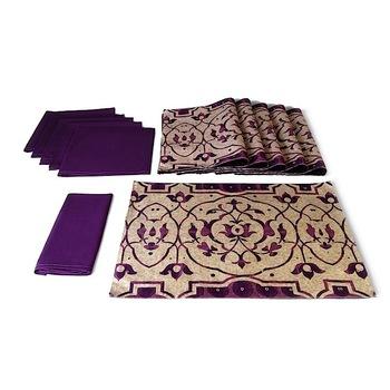 Kuheli Elegant Carvings Table Mat and Napkin(Set of 6)