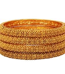 Buy 24k Gold Plated Royal Antique Flower Designed Bangles bangles-and-bracelet online