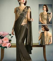 Buy Black embroidered fancy fabric saree with blouse one-minute-saree online
