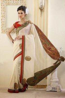 Off White Dupion Designer Sarees with Blouse