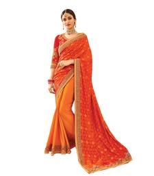Buy orange embroidered silk saree with blouse wedding-saree online