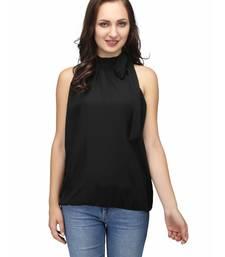 Buy Black Color Tie Collar Casual Top top online