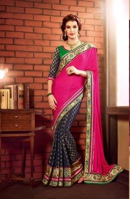 Style Multi Art Silk embroidered saree.
