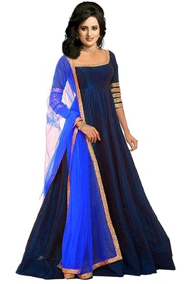 Navy blue plain banglori silk semi stitched gown with dupatta