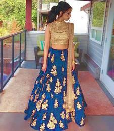 Buy Blue embroidered silk unstitched lehenga punjabi-lehenga online