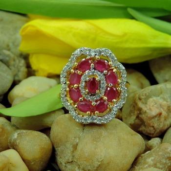 Red Flower Shape Designer AD Ring