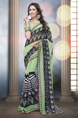 Black and Light Green Bemberg Georgette Saree with Georgette Blouse piece