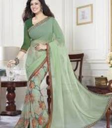 Buy Green printed georgette saree with blouse bollywood-saree online