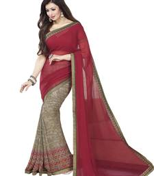 Buy Wine printed georgette saree with blouse bollywood-saree online
