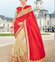 Buy Orange embroidered georgette saree with blouse wedding-saree online