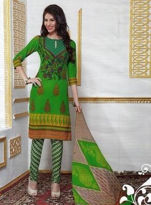 Beautiful Green Printed Cotton  Dress Material