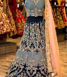Buy Blue embroidered satin unstitched lehenga lehenga-choli online