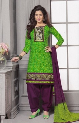 Dazzling Green Printed Cotton  Dress Material