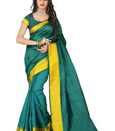 Buy Green printed cotton poly saree with blouse