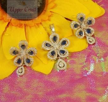 Flower Power CZ Pendent Earring Jewellery