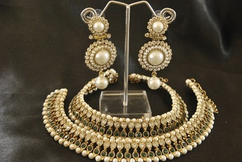 Green colour Pearl Anklets & Pearl Earrings