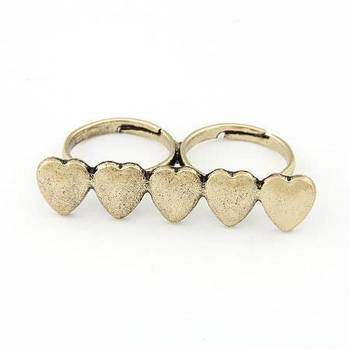 Hearts Double Finger Ring(CFR0107)