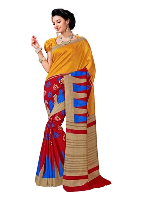 Multicolor printed Mysore Jute and Cotton Linen Blend Silk saree with blouse