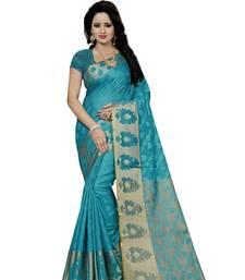 Buy Sky blue hand woven silk saree with blouse banarasi-saree online